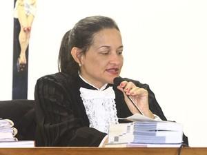 22/04/2013 - Juíza Marixa Fabiane Rodrigues preside o terceiro júri do caso Eliza. (Foto: Maurício Vieira/G1)