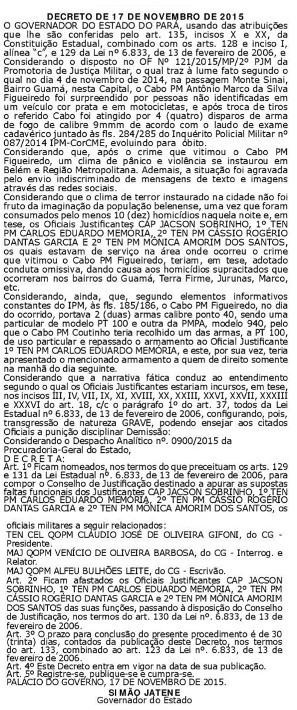 Decreto foi publicado no Diário Oficial de 18 de novembro, 14 dias após a tragédia completr 1 ano (Foto: Reprodução / Diário Oficial do Estado)