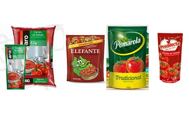 Anvisa encontrou pelo de roedor em lote de quatro marcas de extratos de tomate e uma marca de molho de tomate (Foto: Reprodução/ Makro/ Cargill/ Predilecta)