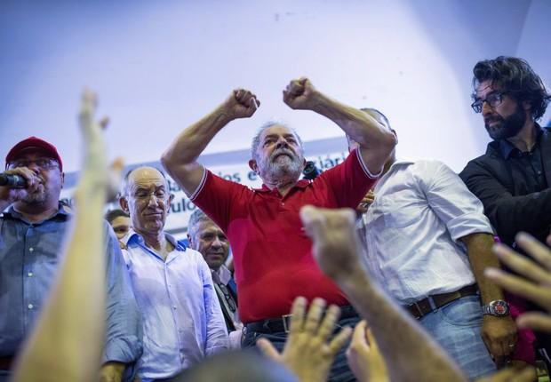 O ex-presidente Luiz Inácio Lula da Silva em ato no Anhangabaú (Foto: Victor Moriyama/Getty Images)