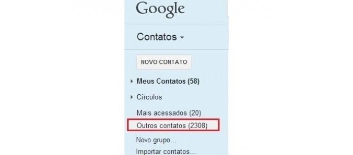 Selecione Outros contatos ao passar o mouse sobre Círculos  (Foto: Reprodução/Paulo Finotti)