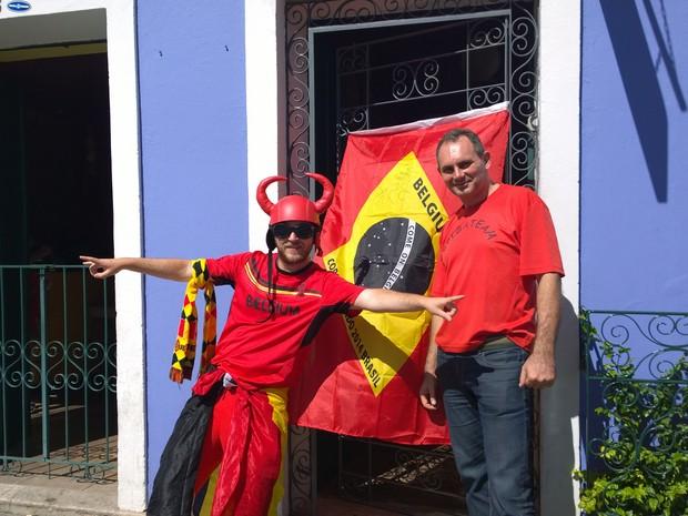 Belga dono de hotel no Pelourinho recebeu torcedores do país natal para partida da Copa, em Salvador (Foto: Yuri Girardi / G1)
