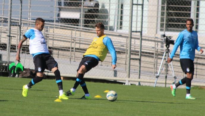 Luan treino do Grêmio Maxi Rodríguez (Foto: Eduardo Moura/GloboEsporte.com)