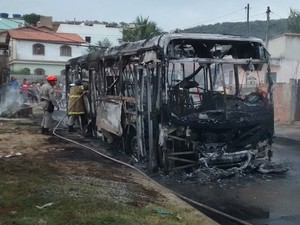 Ônibus que fazia a linha Baixo Grande ficou totalmente destruído  (Foto: Ariane Marques/G1)
