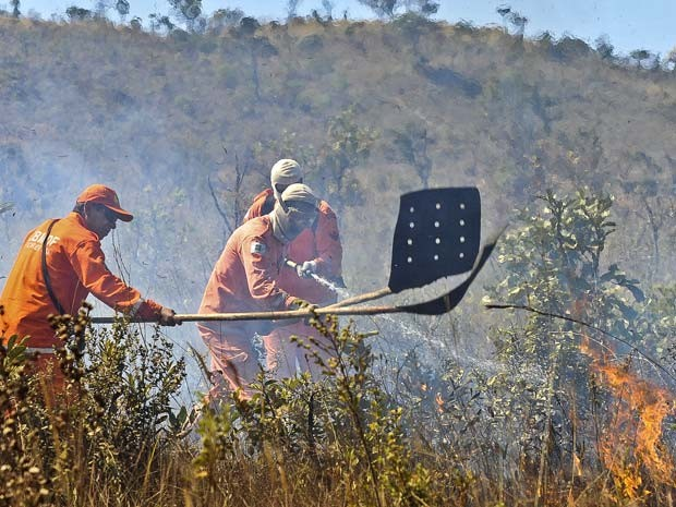 Bombeiros tentam controlar chamas em área de cerrado próxima da Granja do Torto, residêncial oficial da Presidência (Foto: Antonio Cruz/ABr)