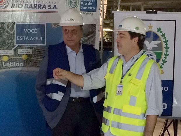 Governador Pezão visita obras do Metrô na Zona Sul do Rio (Foto: Marcelo Elizardo / G1)
