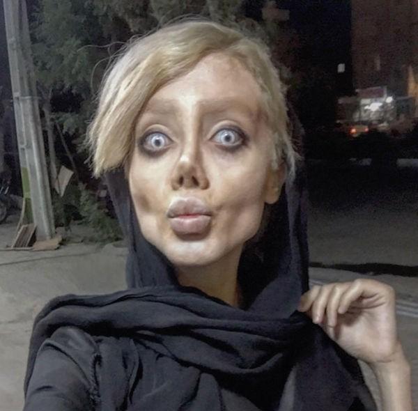 A adolescente iraniana Sahar Tabar fez várias plásticas para ficar parecida com Angelina Jolie (Foto: Instagram)