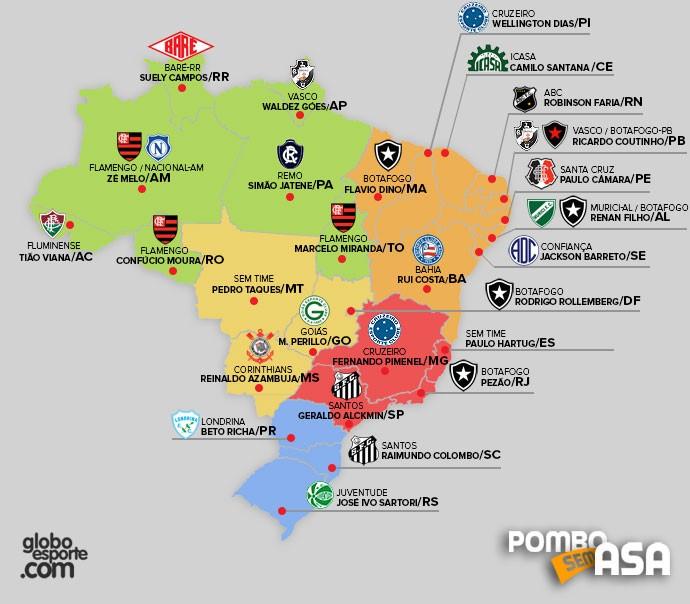 Mapa time dos governadores pelo Brasil