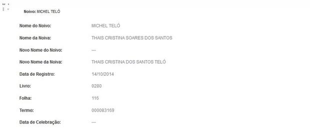Documento do cartório mostra que Michel Teló e Thaís Fersoza se casaram (Foto: Reprodução)