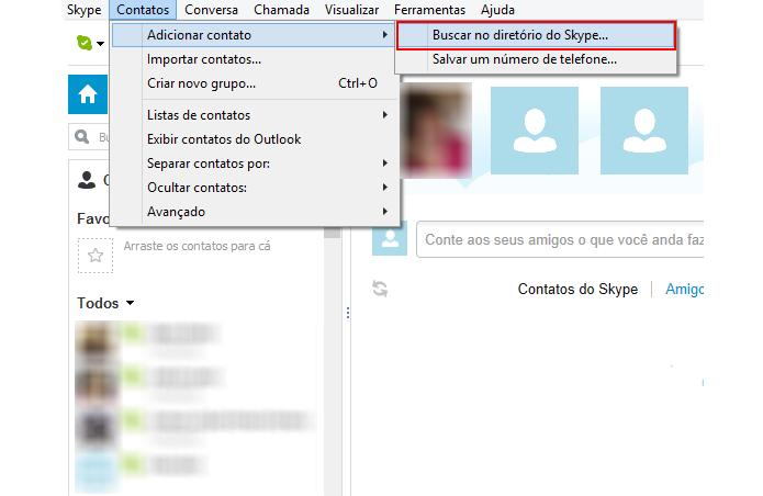 Faça uma busca no diretório do Skype (Foto: Reprodução/Paulo Alves)