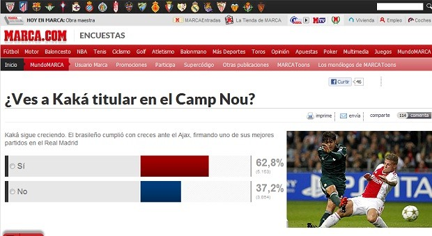 Enquete sobre Kaká é destaque no site do Marca (Foto: Reprodução)