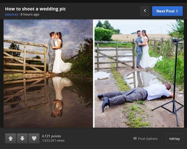 Por foto de 'casamento perfeita', fotógrafo deitou no chão e virou hit (Foto: Reprodução/Reddit/Scouserdave)