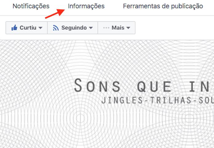 Link para acessar informações de uma página no Facebook (Foto: Reprodução/Marvin Costa)