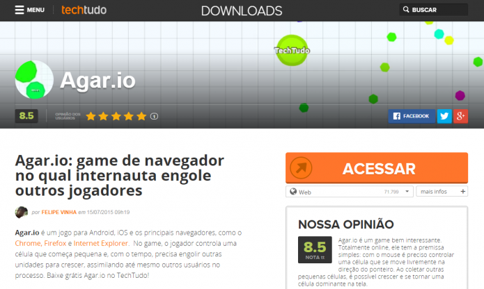 Acesse o site a partir da seção Downloads do Techtudo (Foto: Reprodução/Murilo Molina)