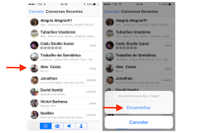 Encaminhando uma mensagem marcada com estrela para outro contato do WhatsApp no iPhone (Foto: Reprodução/Marvin Costa)