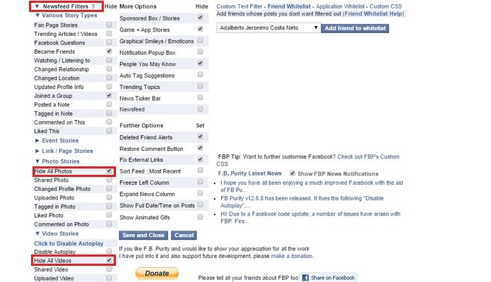 Destaque para opções de filtros do feed, chamados Newsfeed Filters (Foto: Reprodução/Raquel Freire)