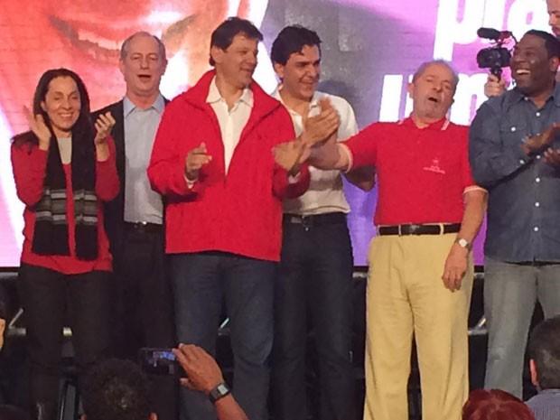 Fernando Haddad e Gabriel Chalita participam da convenção do PT com a presença do ex-presidente Lula (Foto: Gabriela Gonçalves/G1)