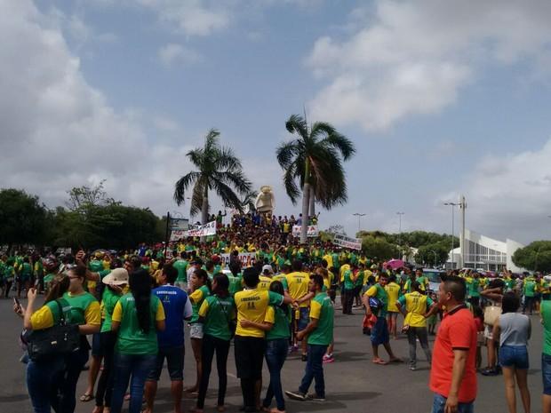 Manifestação ocorreu no Centro de Boa Vista  (Foto: Emmily Melo/G1)