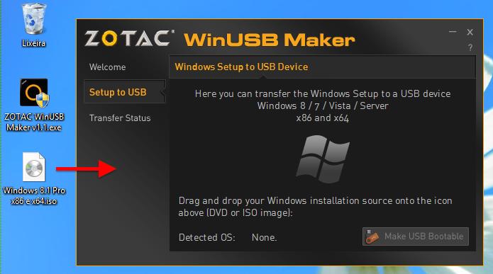 Selecione o arquivo de instalação do Windows (Foto: Reprodução/Helito Bijora)