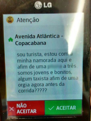 Suposta casal de turistas propõe orgia com taxistas por meio do aplicativo (Foto: Arquivo pessoal)