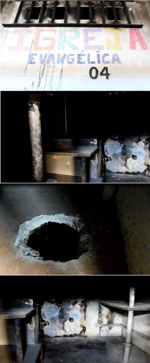 Carceragem onde, segundo agente, corpos de detentos mortos foram queimados. Por causa da fuligem e manchas causadas pela fumaça, é quase impossível ver as paredes. No chão, um buraco aberto. O túnel foi escavado para uma fuga que não aconteceu.   (Foto: Thyago Macedo/G1)