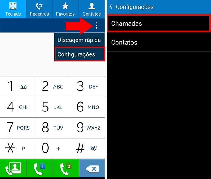 Acesse a configuração de chamadas do celular (Foto: Reprodução/Paulo Alves)