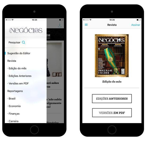 Além de notícias diários, no nosso novo aplicativo você terá acesso às reportagens divididas por tema e a todo acervo digital de nossas edições impressas (Foto: Época NEGÓCIOS)