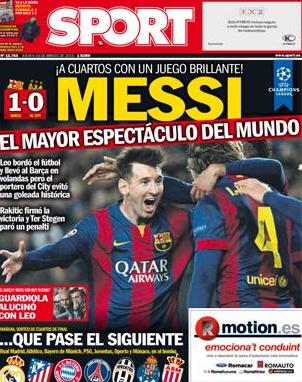 Capa jornal Sport - Barça x City
