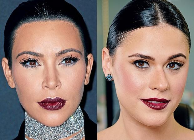 Kim Kardashian e Helena Moro (Foto: Getty Images/ Cauê Moreno/Ed. Globo)