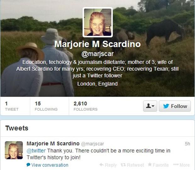 Marjorie Scardino, ex presidente-executiva da Pearson, agradece em sua conta no Twitter por ser a 1ª mulher a se tornar membro do Conselho de Administração do microblog. (Foto: Reprodução/Twitter)
