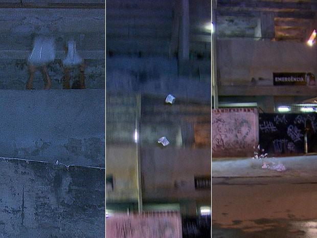 Sequência mostra vasos sendo atirados de anel superior do estádio do Arruda (Foto: Reprodução/TV Globo)