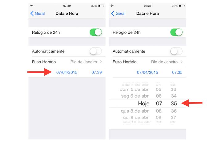 Alterando a hora do iPhone manualmente (Foto: Reprodução/Marvin Costa)