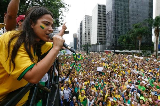 Wanessa na manifestação em SP (Foto:  Vanessa Carvalho / BPP / AGNEWS)