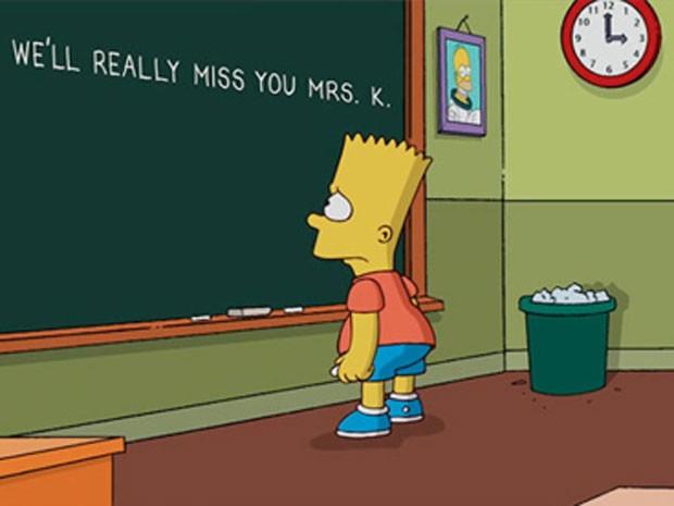 'Simpsons' faz homenagem à atriz Marcia Wallace, que dublava a professora Edna Krabappel  (Foto: Reprodução/Fox)