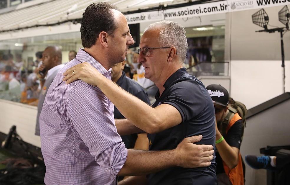 Dorival substitui Rogério Ceni. Eles se enfrentaram no Paulistão, na Vila, e o Tricolor venceu por 3 a 1 (Foto: Rubens Chiri/saopaulofc.net)