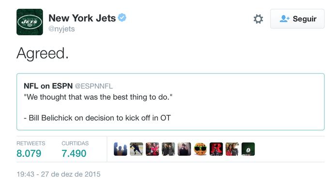 Twitter Jets NFL (Foto: Reprodução Twitter)