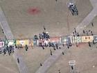 Fiéis montam tapete de 120 m em celebração de Corpus Christi no DF