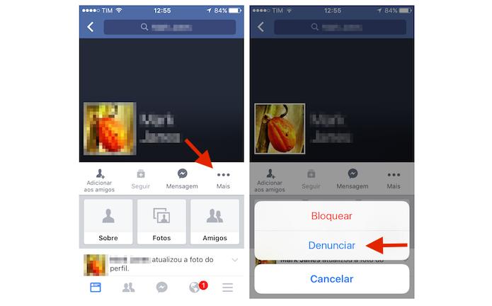 Iniciando o processo de denúncia de um usuário do Facebook pelo celular (Foto: Reprodução/Marvin Costa)