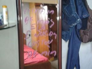 Homem deixa mensagem em espelho após crime no Tocantins, diz PM (Foto: Divulgação/PM TO)