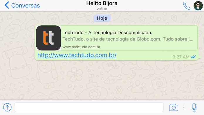 Veja como remover o preview de links no WhatsApp para iOS (Foto: Reprodução/Helito Bijora)