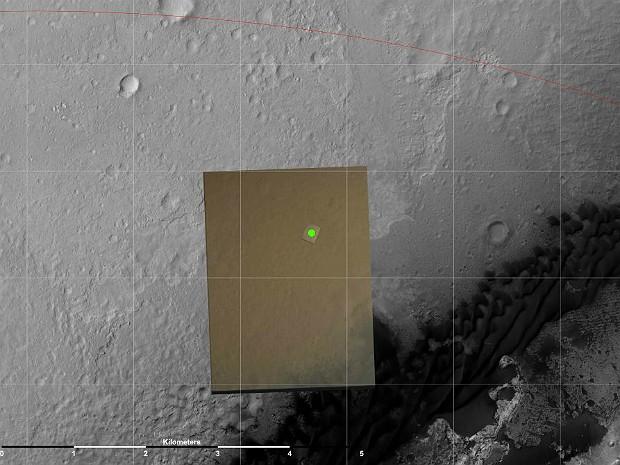 Local pouso Curiosity (Foto: Nasa/JPL-Caltech)
