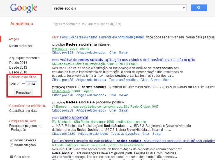 Pesquisa de resultados por data no Google Acadêmico (Foto: Reprodução/Lívia Dâmaso)