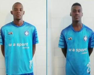 Zagueiro Rômulo (esq) e lateral Wesley do Barra Mansa (Foto: RJTV 1ª Edição)