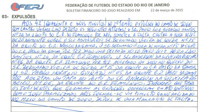 Súmula Flamengo x Vasco (Foto: Reprodução)