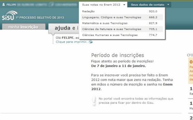 O internauta Murilo Gonçalves diz também teve acesso a notas de um estudante chamado Felipe (Foto: Arquivo pessoal)
