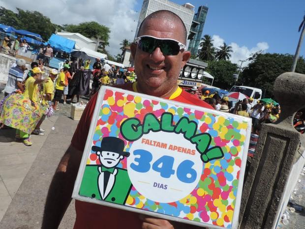 Sérgio Barreto já conta os dias para o carnaval do ano que vem (Foto: Katherine Coutinho / G1)
