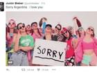 Justin Bieber diz que gostaria de voltar à Argentina, mas advogados impedem