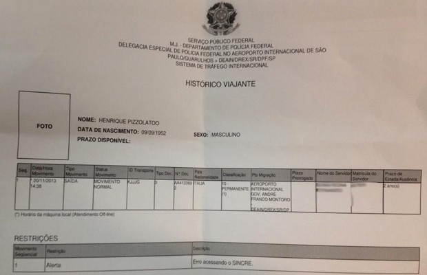 O documento sobre suposto embarque de Pizzolato no aeroporto de Guarulhos (Foto: Reprodução)