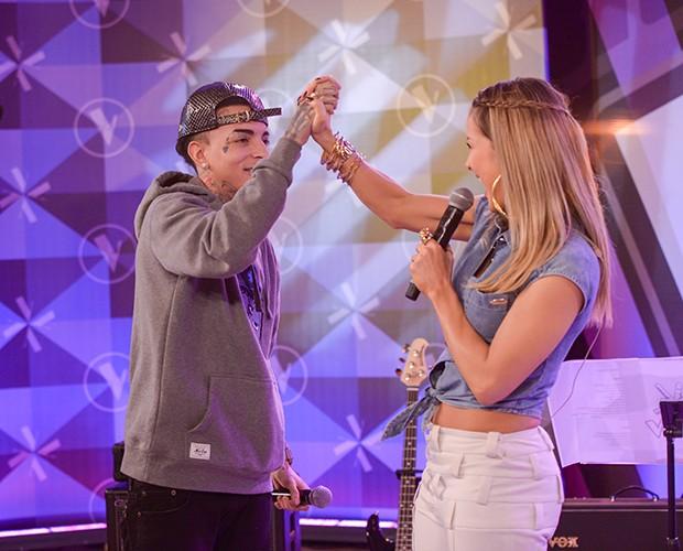 Claudia e MC Guimê cantaram juntos no The Voice Brasil (Foto: Camila Serejo/Gshow)