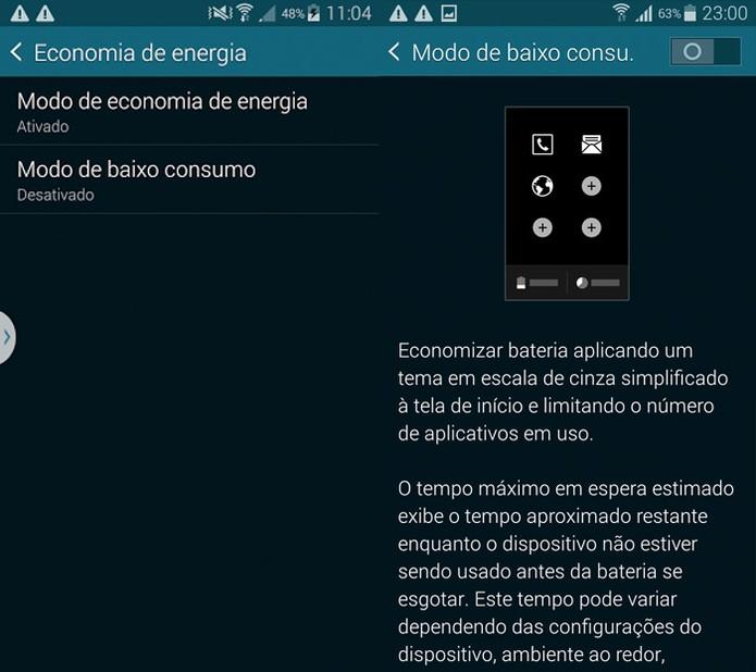 Modo de economia de energia no Galaxy S5 (Foto: Reprodução)